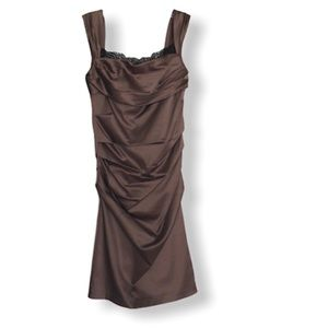 The Limited Event Brown Rouched Cocktail Dress
